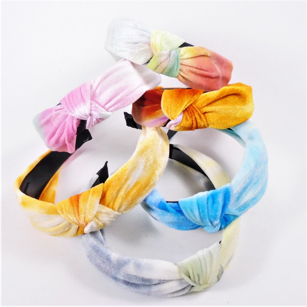 """SPA/Beach Wear 1.5"""" Soft Velveteen Fabric Tye Dye Headbands w/ Knot  .58 ea"""