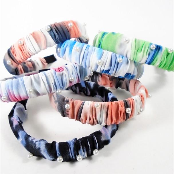 "1"" Ruffled Tye Dye Headbands w/ White Pearls  12 per pk   .58 each"
