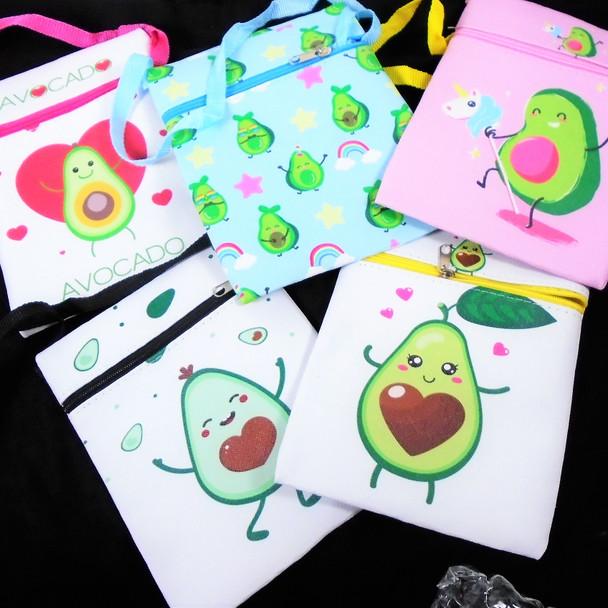 """5"""" X 7"""" Fun Avocado Print Zipper Bag w/ Lg. Strap  12 per pk  .58 each"""