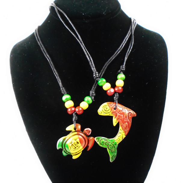 DBL Leather Cord Adj Necklace w/ Rasta Beads & Turtle/Dolphin Pendant  .56 each