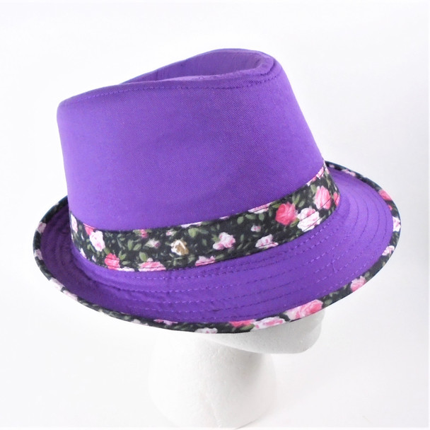 Flower Trim & Band Fedora's Asst Colors  12 per pk  ONLY $ 1.66 each