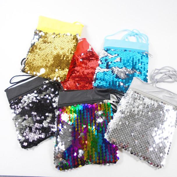 """4"""" X 6"""" Sequin Change Color  Fashion Bag w/ Lg Strap .60 each"""