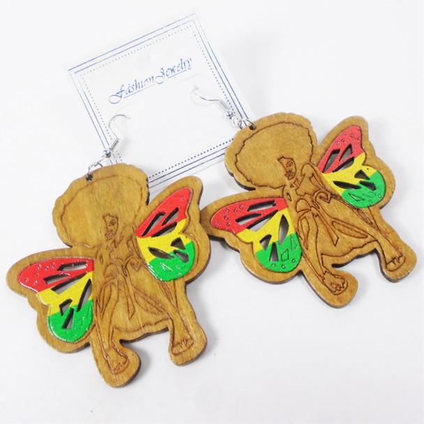 "3"" Wood Fashion Earrings w/ Rasta Color Butterfly  .56 per pair"