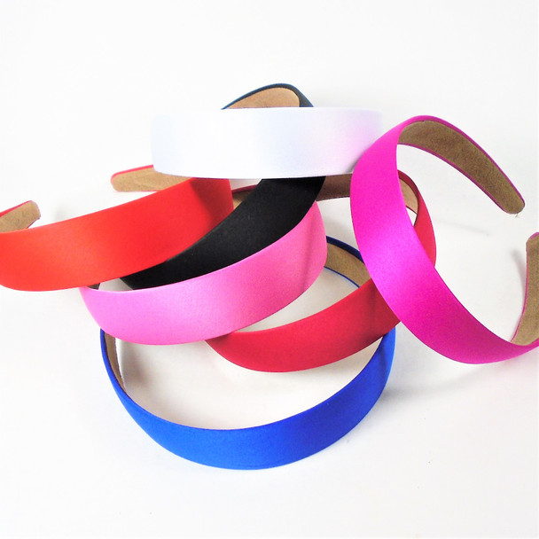 """Best Quality 1.25"""" Satin Lined Basic Headbands  Mixed Colors  .56  ea"""