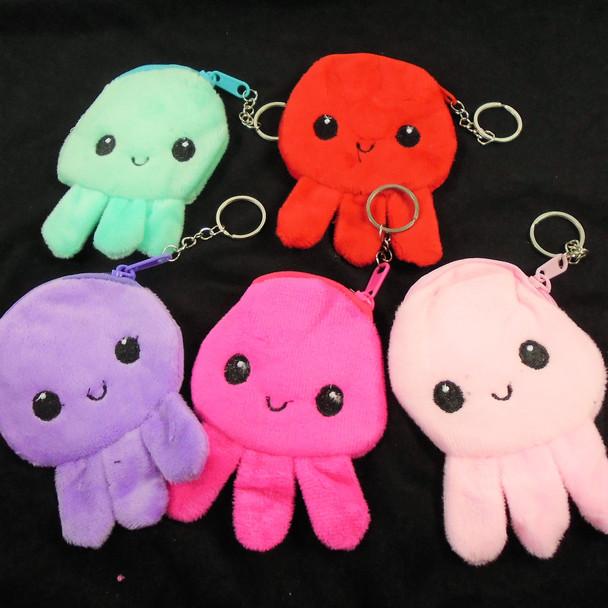 """4.5"""" Cute Octopus  Theme Zipper Coin Purse w/ Key Chain .58 each"""
