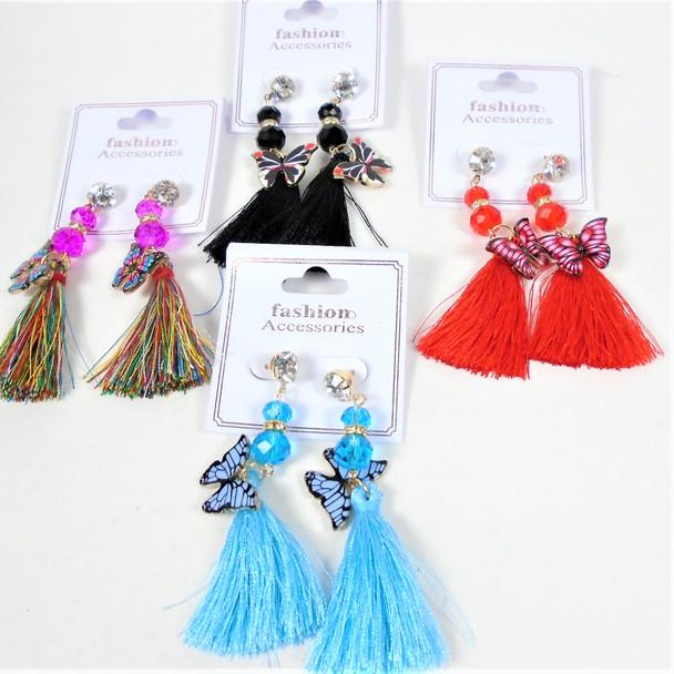 "3"" Crystal Bead,Butterfly & Dangle Tassel Hi Fashion Earrings  .60 each pair"