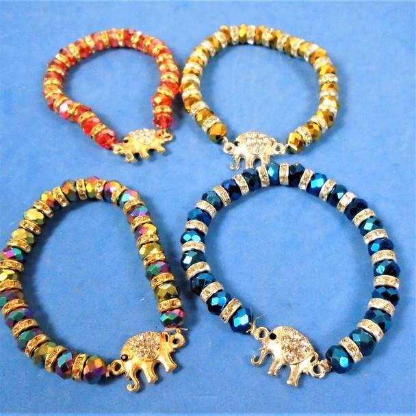 Metallic Bead Stretch Bracelet w/ Cry. Stone Elephant  .58 each