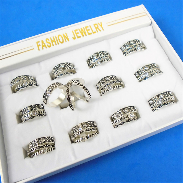3 Pack Silver w/ Textured Design Fashion Band Rings  .60 per set of 3