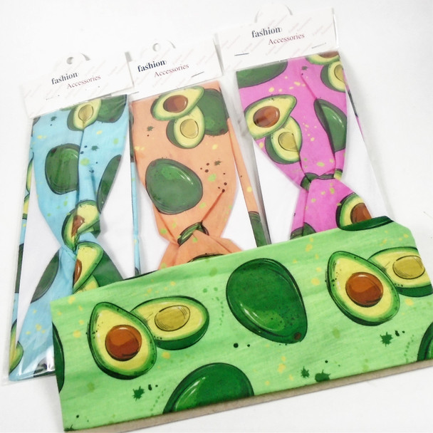 "3.5"" Wide Avocado Theme Stretch Headbands Asst Colors  .42 each"