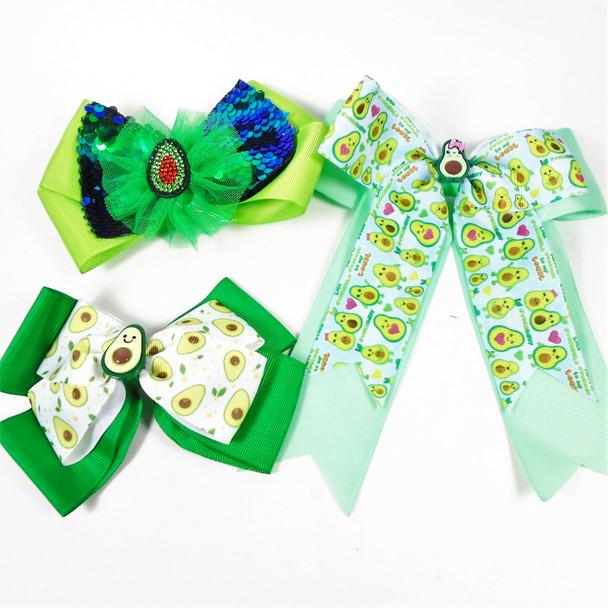 Lg. Size 3 Style Avocado Theme Fashion Gator Clip Bows  .58 each