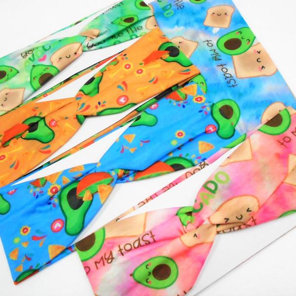 "NEW 3""  Avocado Toast & Chips & Dip Theme Stretch Headbands  .49 ea"