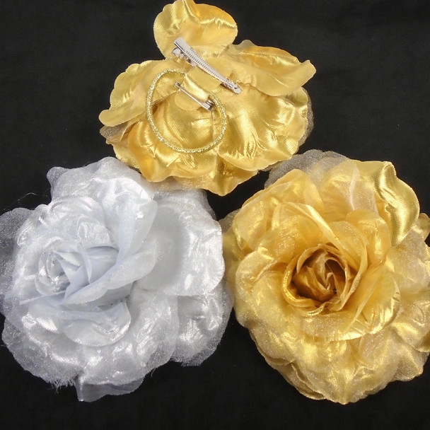 """5"""" Gold & Silver  3 in 1 Fashion Flower  Pin,Gator Clip,Pony Oh  12 per bx .45 each"""