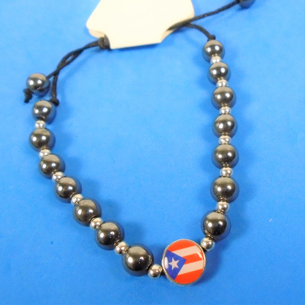 Hematite & Silver Bead Stretch Bracelet w/ Puerto Rico Flag  .60 each