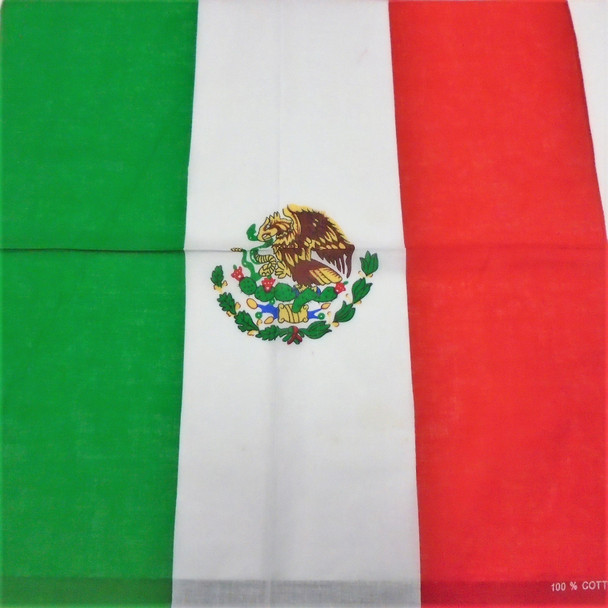 Bandana Mexico Country Flag DBL Sided Printed 100% Cotton .54 each
