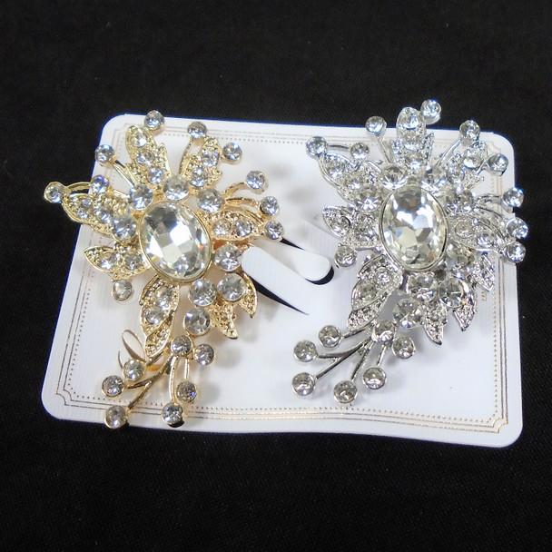 "2.5"" Fashion Broach Gold/Silver Clear & AB Stone Crystals  .56 each"
