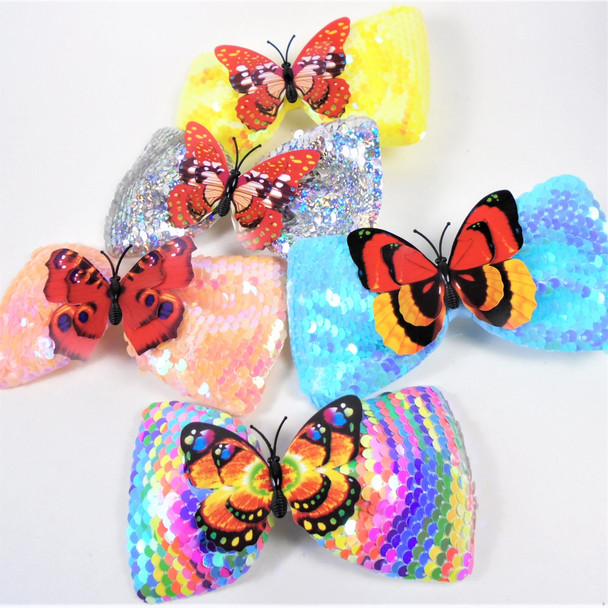 """5.5"""" Sequin Gator Clip Bow w/ Colorful Butterfly Asst Colors   .58 each"""