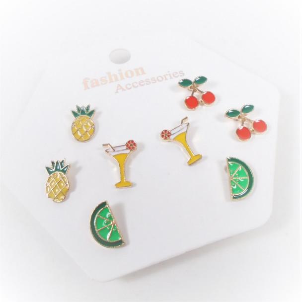4 Pair Epoxy Cocktail/Fruit Fashion Earrings  .58 per set