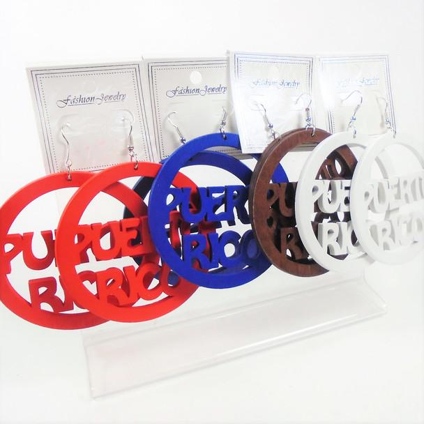 "3"" Wood Puerto Rico Earrings  4 colors  .56 per pair"