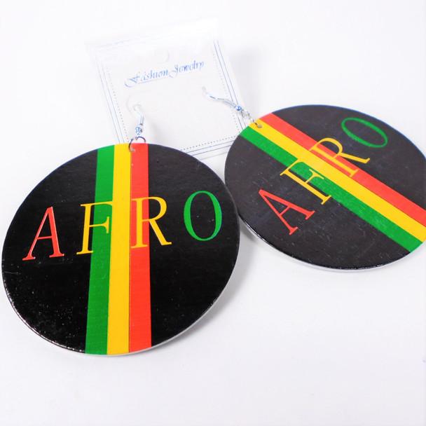"2.75"" Round Wood Earrings  AFRO Rasta Colors  .56 per pair"