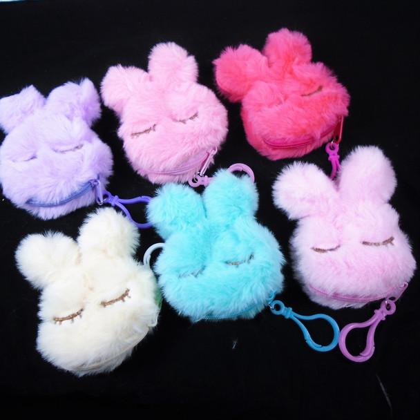 """Too Cute 4"""" Faux Fur Bunny Zipper Bag w/ Clip    .62 ea"""