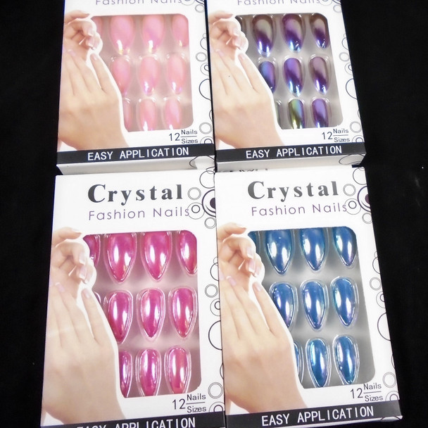 Shiney Metallic Finish  12 Pk Pre Glued Fashion Nails  .56 each set