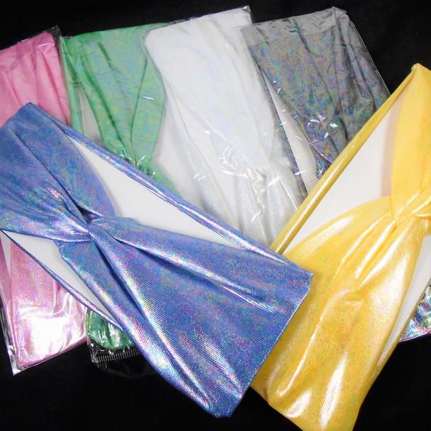 "New 3"" Metallic Wet Look  Stretch Headbands  6 colors  .56 each"
