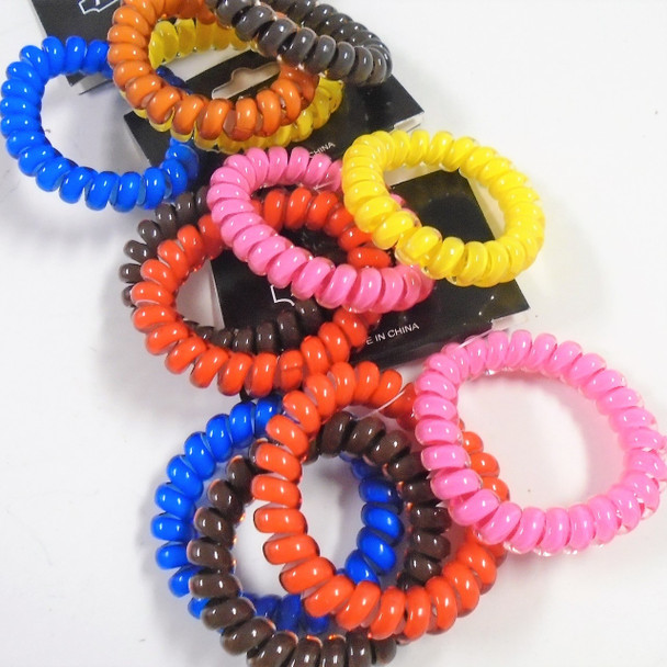 4 Pack Mixed Color Phone Cord Look Ponytailers .60 per set