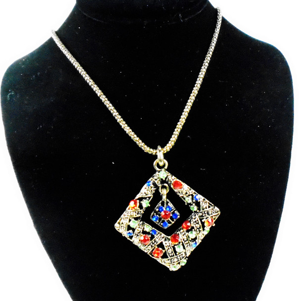 """28"""" Antique Gold Chain Necklace w/ 2"""" Square Crystal Stone Pend. sold by pc $ 1.50 each"""