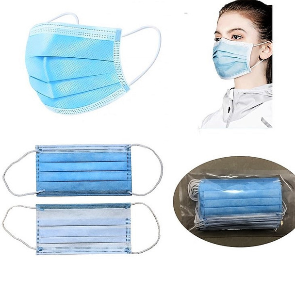 Disposable Protective Blue Face Mask  Box of 50  for $3.90  IN STOCK