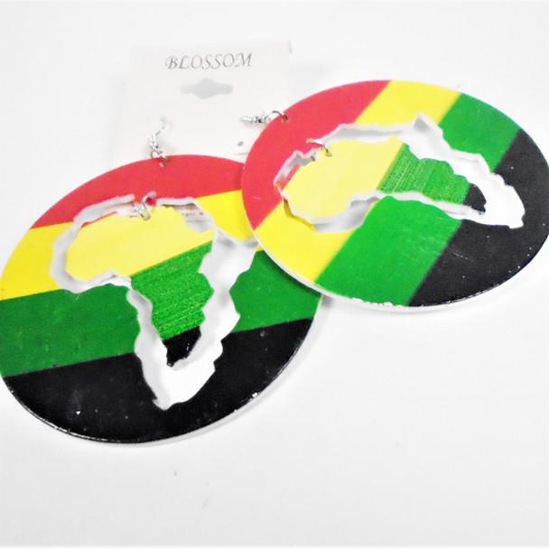 "Big Round 3"" Rasta Color Wood Earrings w/ Dangle Africa Map  .58 per pair"