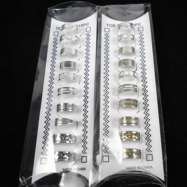 10 Pack Gold & Silver Mixed Style Adj. Toe Rngs   .58 per set