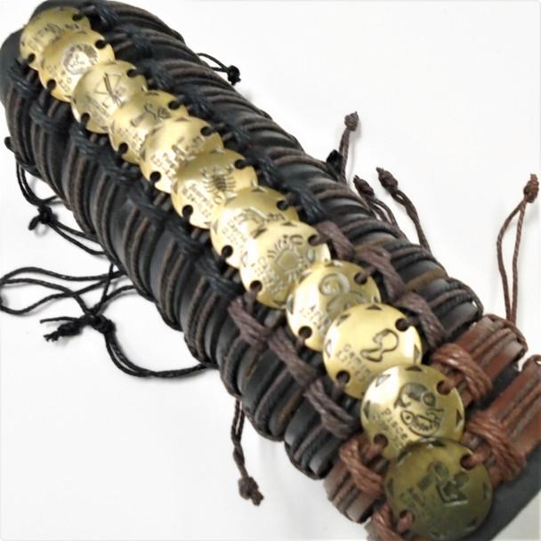 Teen Leather Bracelet w/ Round Gold Zodiac Signs    .58 each