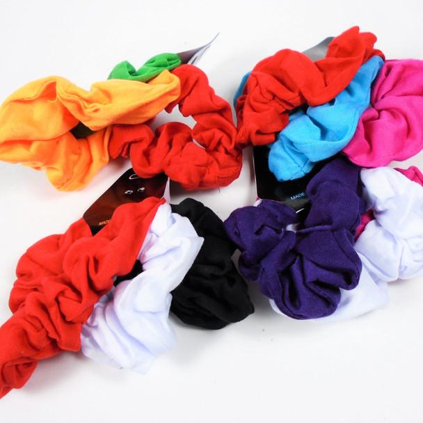 3 - Pk Cotton Scrungi Mixed Bright Colors .56  ea set