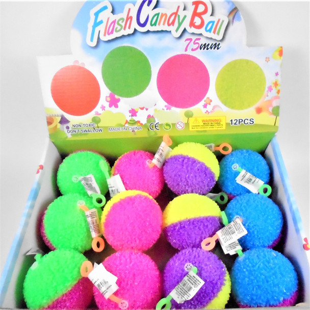 """2.75"""" Flashing Squeakie Two Tone Textured Balls  12 per display bx .75 ea"""