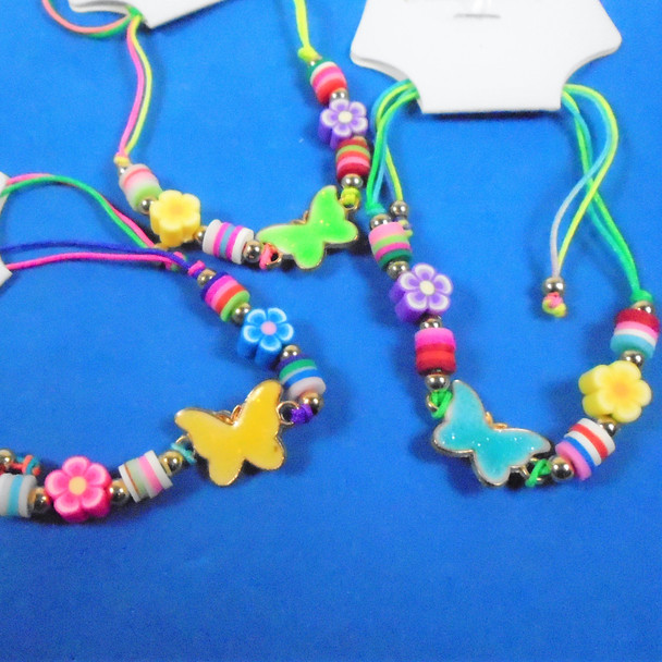 Colorful Beaded Cord Bracelets w/ Butterfly Charms   12 per pk  .56 ea