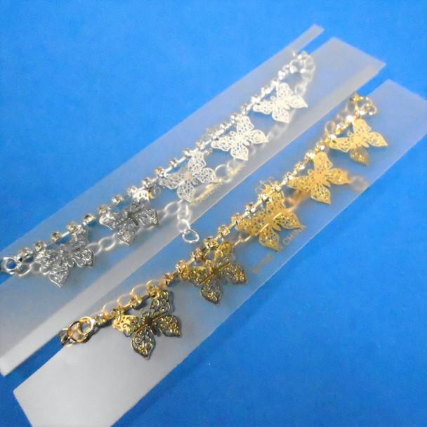 Gold & Silver Chain & Rhinestone Anklets w/ Dangle Butterflies  .56 each