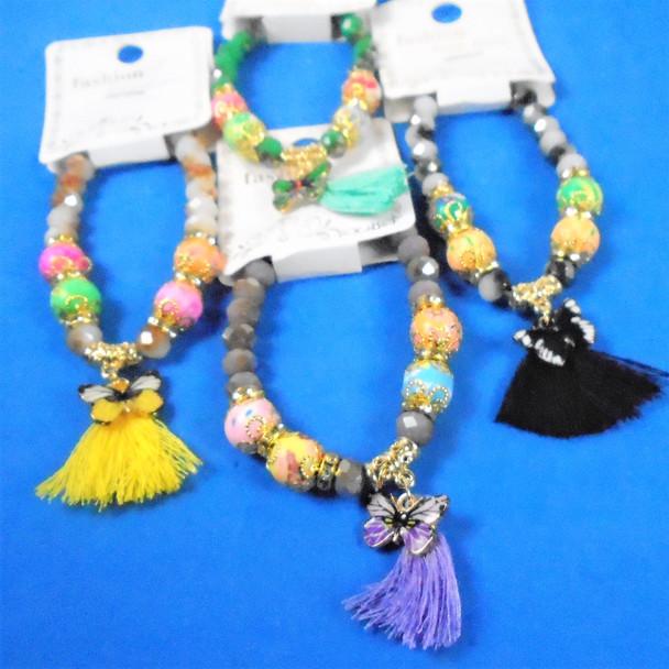 Fancy Beaded Butterfly Charm Bracelet w/ Tassel  Mixed Color  .60 ea