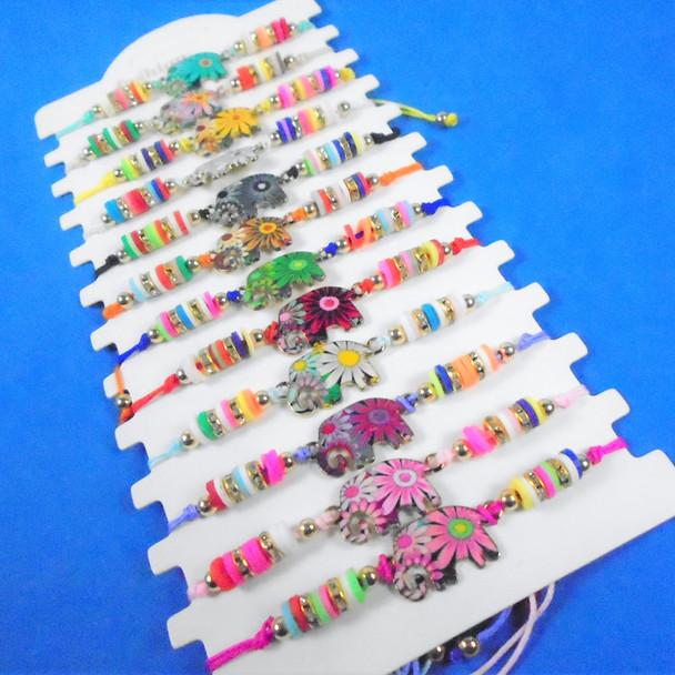 Colorful Beaded Cord Bracelets w/ Elephant Charms   12 per pk  .56 ea