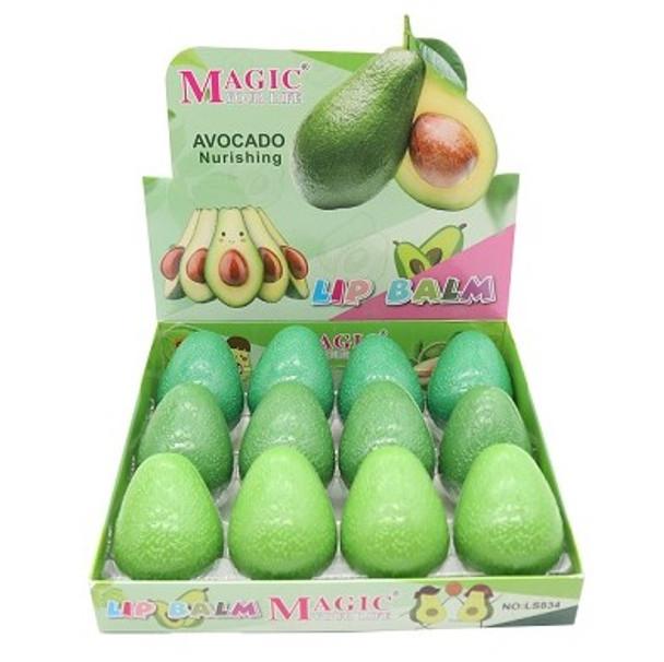 Green Avocado Theme Fruit Lip Balm  12 per display bx  .65 each