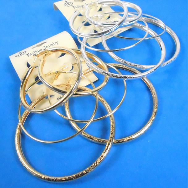 Value Pack 3 Pk Gold & Silver Tube Style Fashion Hoop Earrings  .58 per set