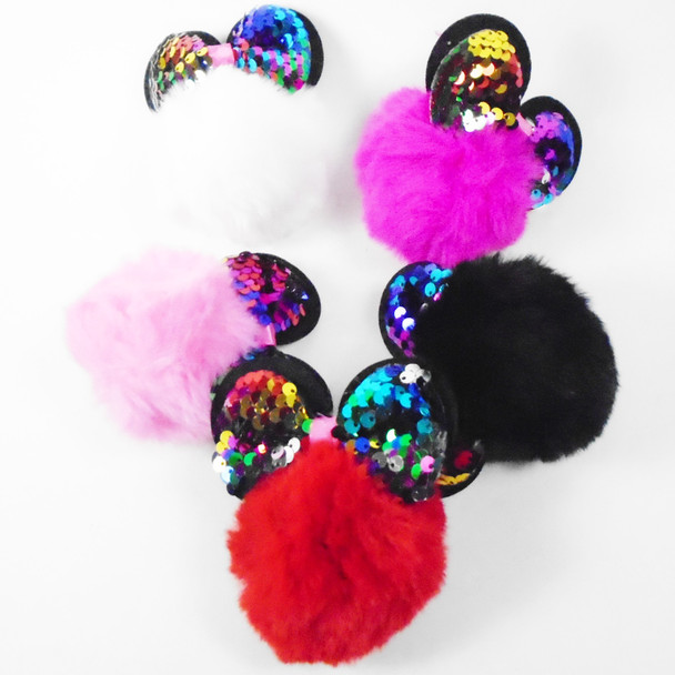 "4"" Faux Fur Pom Pom  Keychain w/ Mouse Ears & Sequin Bow   .58 ea"