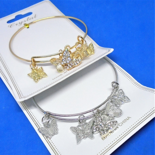 Gold & Silver  Wire Bangles w/ Butterfly Charms  (2066)   .58 ea