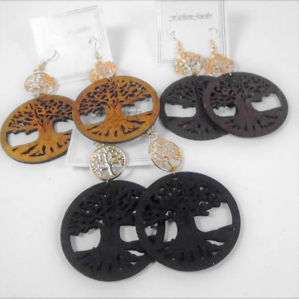 "3"" Wood Earrings 2 Part Tree of Life Theme   .58 per pair"