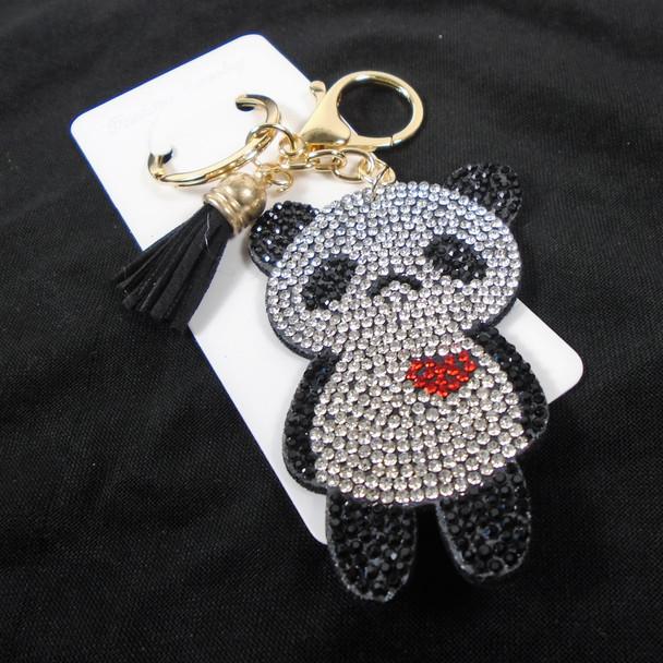 "3"" Crystal Stone Panda Bear Bling Keychains w/ Tassel & Clip 12 per pk .65 ea"