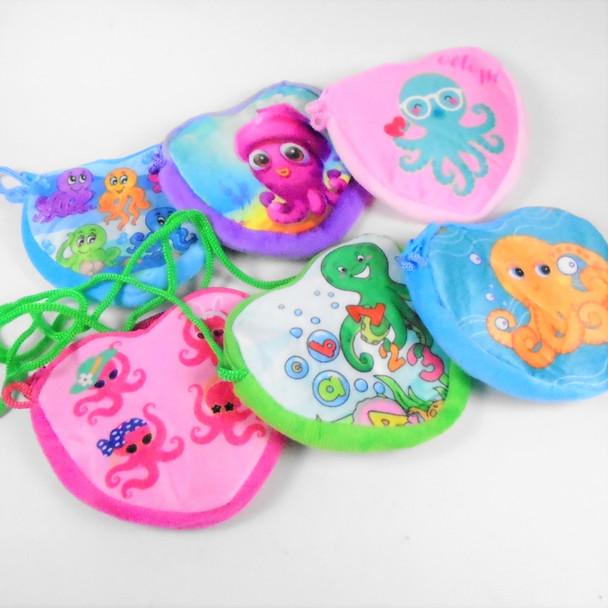 """Cutest 5"""" Velveteen Octopus Theme Zipper Bag w/ Strap  .58 each"""