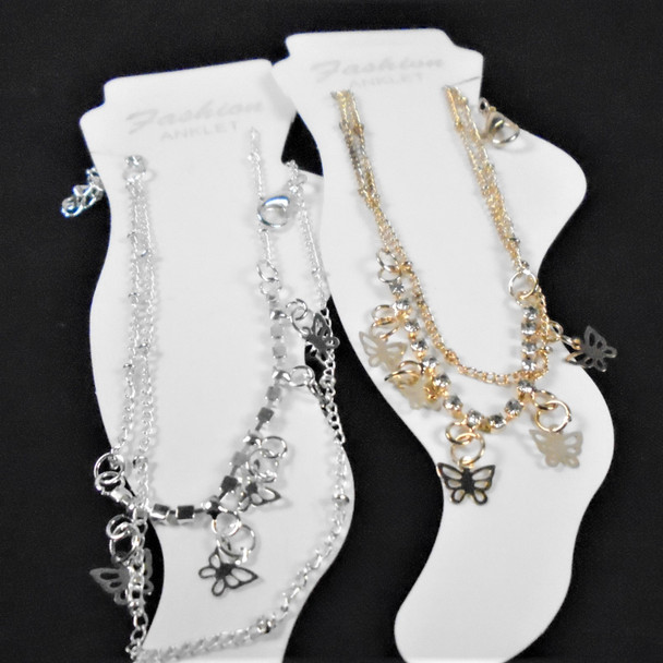 2 Strand Gold & Silver Anklets w/ Stones & Butterfly Charms  .58 ea