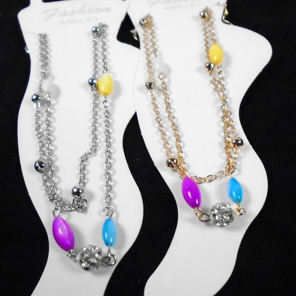 2 Strand Gold & Silver Anklets w/ Colored Beads & Fireball Bead   .58 ea