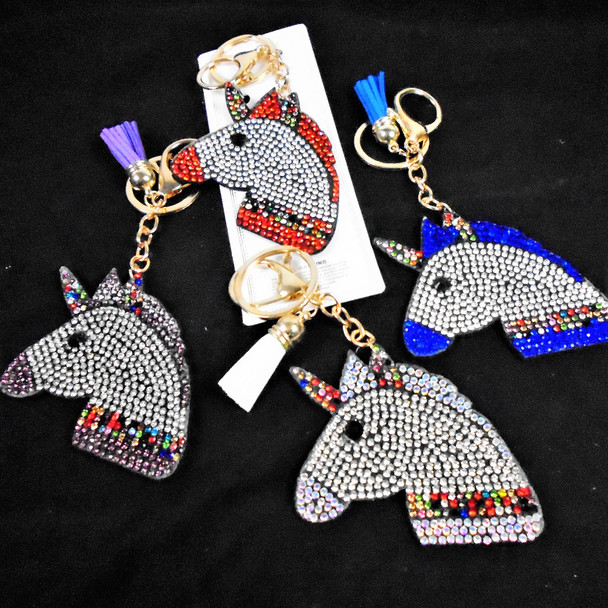 """3.5"""" Crystal Stone Unicorn Keychain w/ Clip  Mixed Colors  .65 each"""
