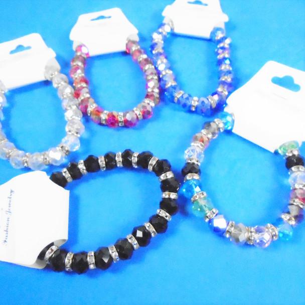 8 MM Crystal Beaded Stretch Bracelet w/ Mini Crystal Beads  .60 ea