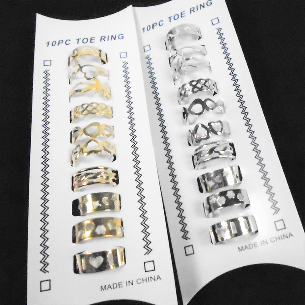 10 Pack Gold & Silver Mixed Style Adj. Toe Rings (058)  .58 per set
